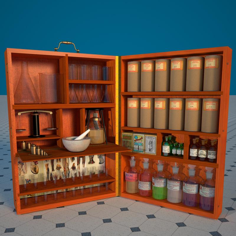 3d model old chemist box