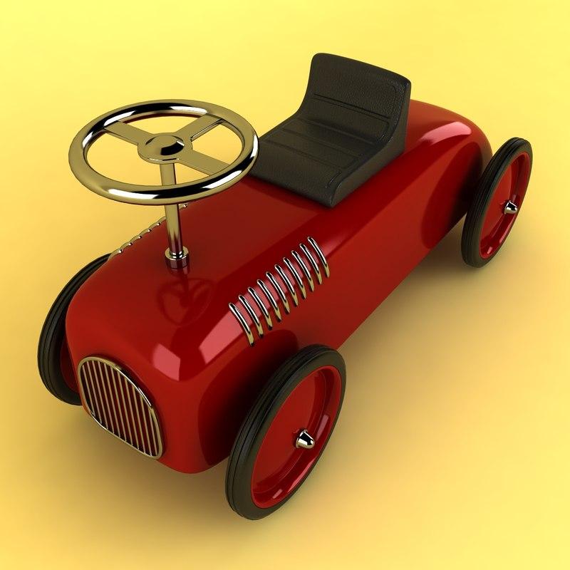 retro toy car 3d model