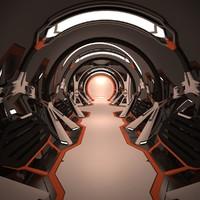 sci fi spaceship corridor interior max