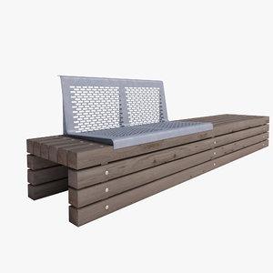 3d model wooden park bench outdoor