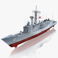 3d uss ingraham ffg-61 frigate model