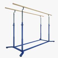 3d model gymnastics parallel bars