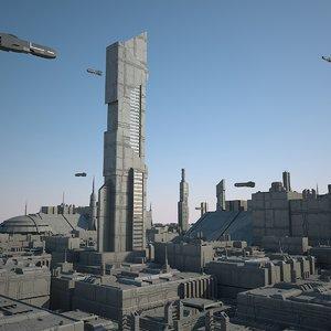 3d model sci-fi city sci