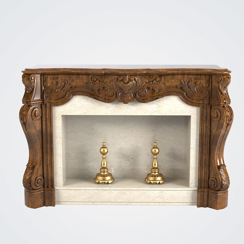 3d baroque fireplace model