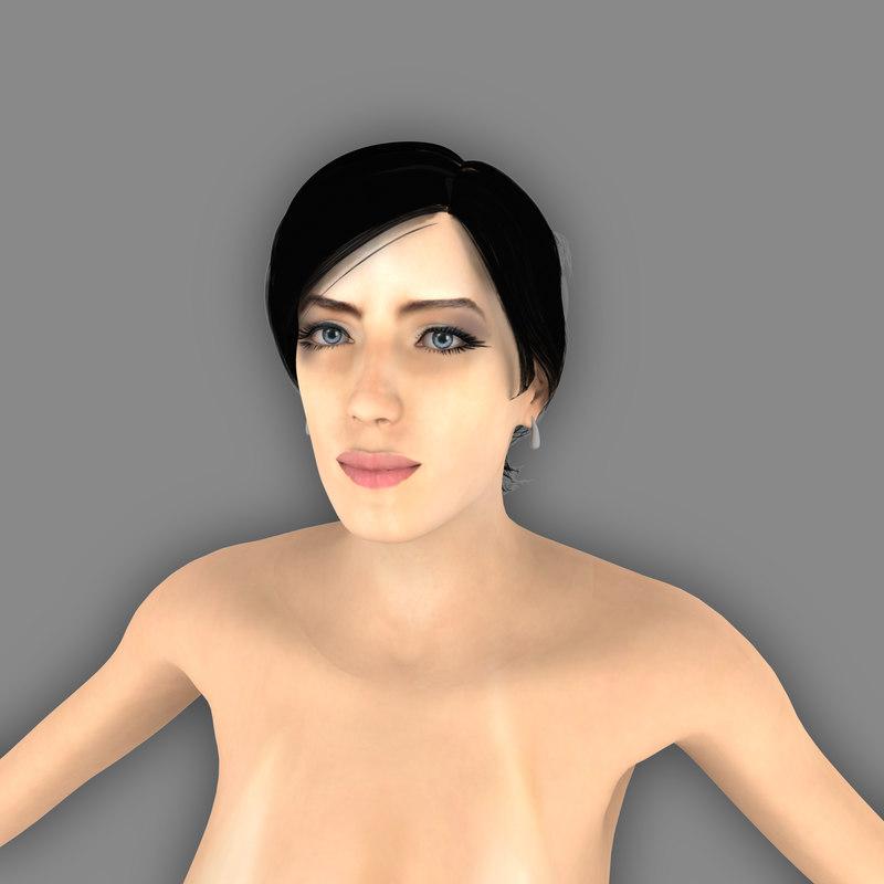 sexy female clair 3d obj
