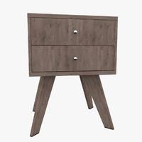 nightstand rubberwood wood 3ds