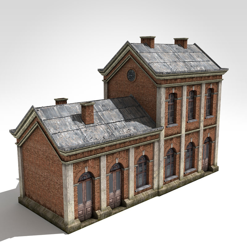 3d model old-style factory