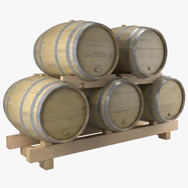 barrels wood module wine 3ds