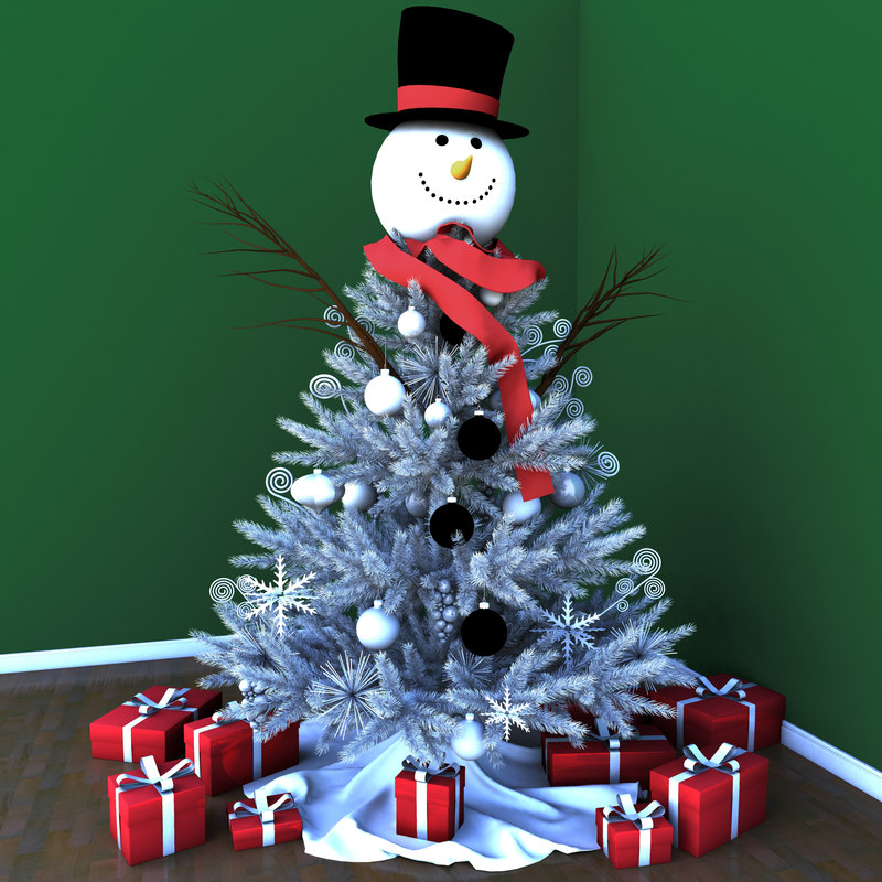 snowman christmas tree 3d model - White Christmas Tree Snowman