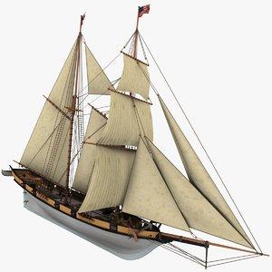 3d sailboat schooner halcon