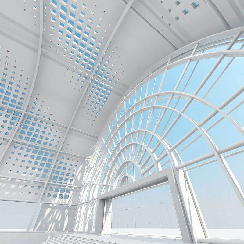large architectural interior 3d model