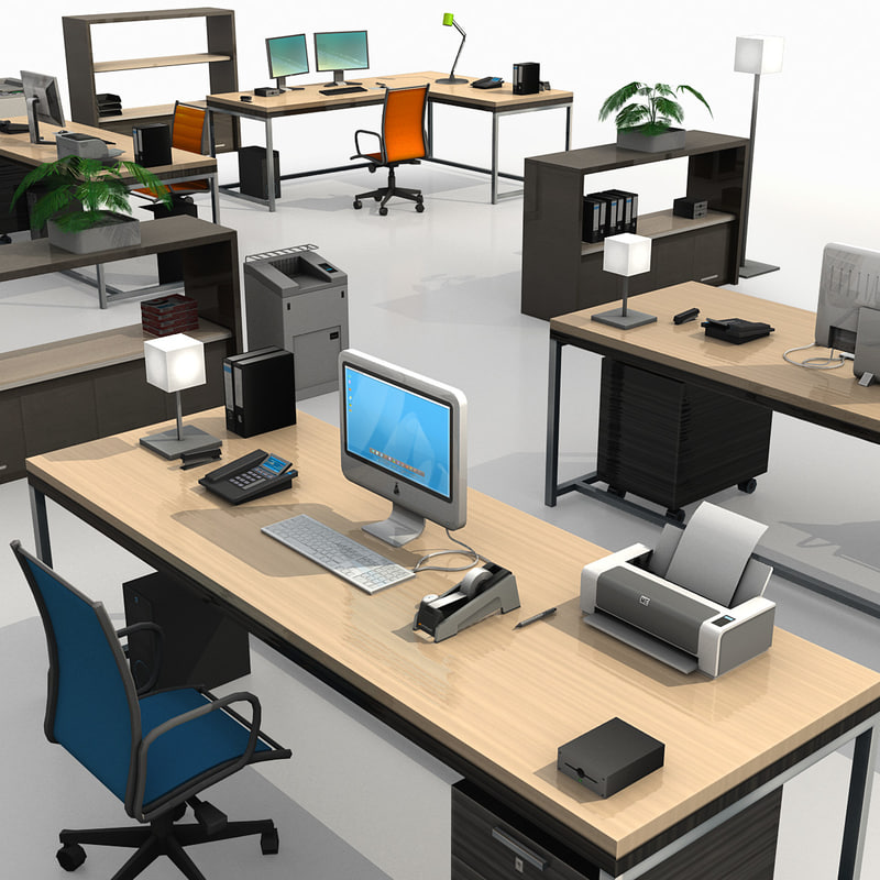 modern office set 3d dxf