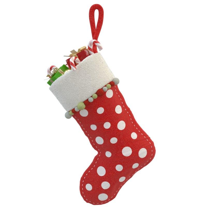 3d model christmas sock 01