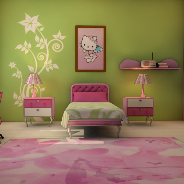 girl room 3d max