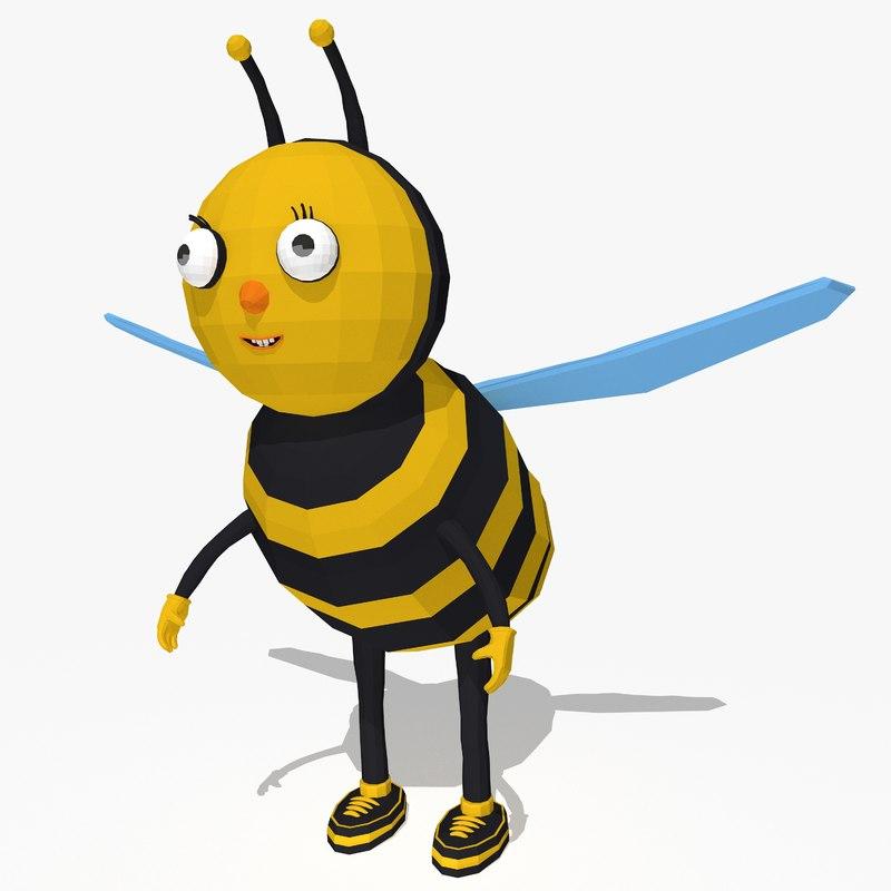 cartoon bee 3d model
