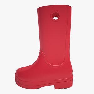 3d crocs rain boot model