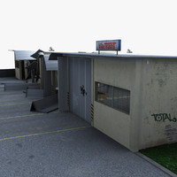3d bus garage destroyed model