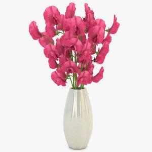 sweet peas vase red 3d model