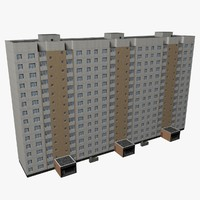 3d typical 14-storey soviet house interior