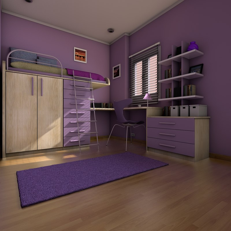 elegant teen room interior 3d model