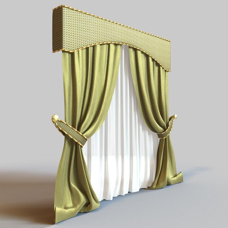 3d curtain modeled fabric model