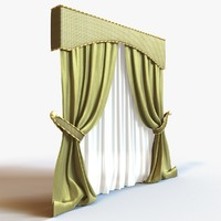 3d curtain modeled fabric model