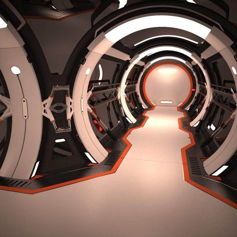 futuristic corridor interior 1 3d model
