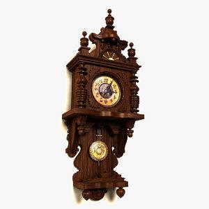 3d model antique grandmother clock