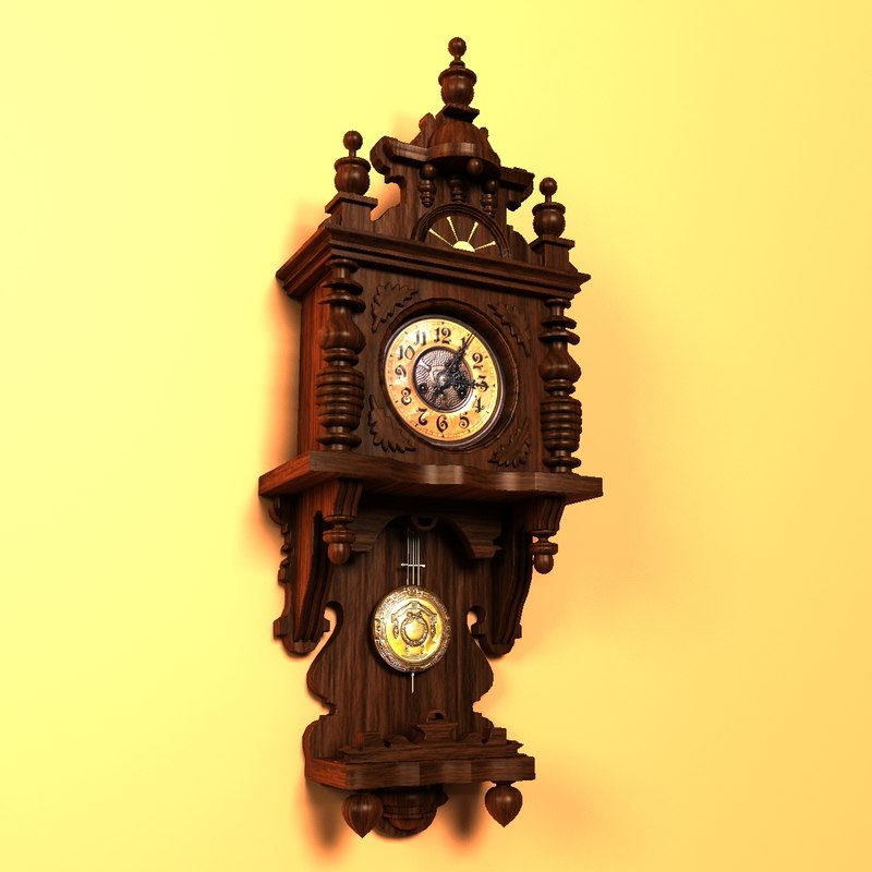 3d model antique grandmother clock