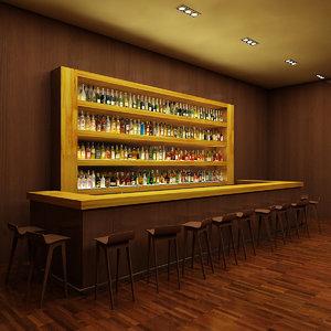 3d model bar 1 140 liquor bottles
