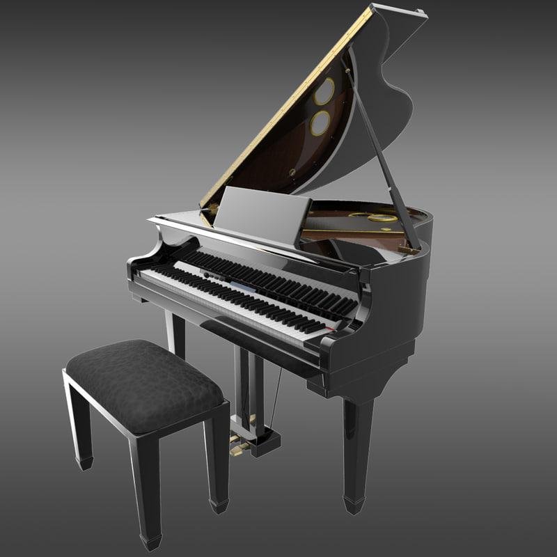 3d max digital grand piano