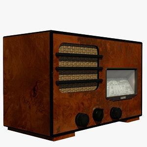 3d model old radio 1940s