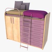 3dsmax bed wardrobe compact