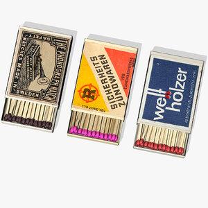 3d model of matchboxes matches