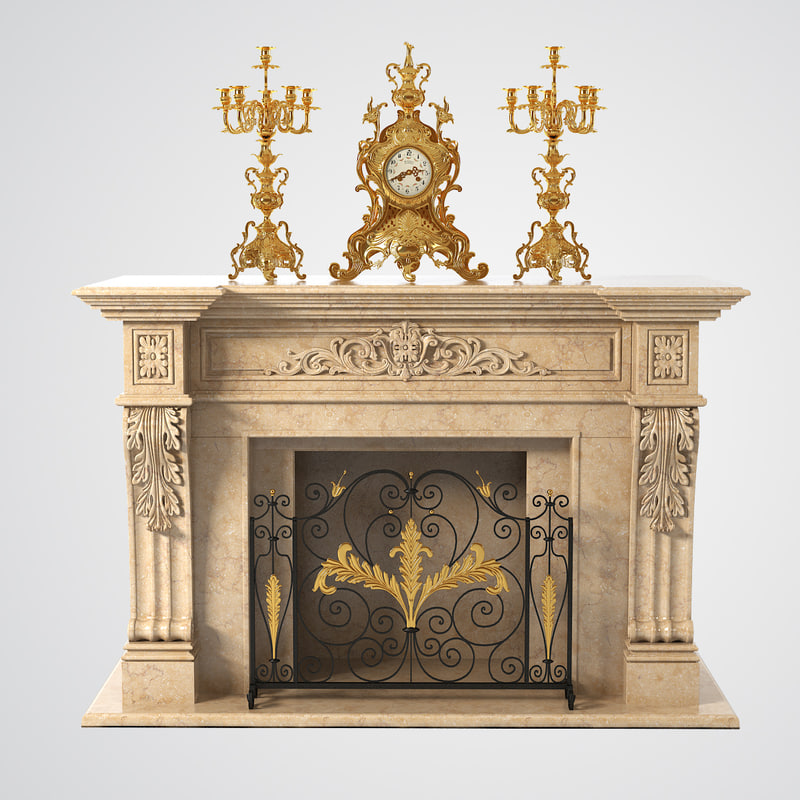 fireplace clock candlabra 3d model