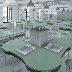 interior classroom scene 3d model