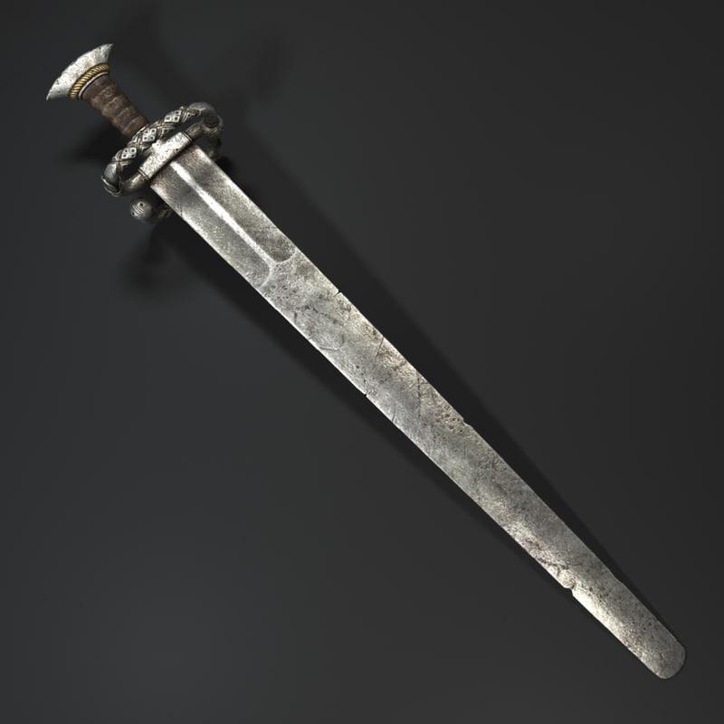 3d medieval sword katzbalger model