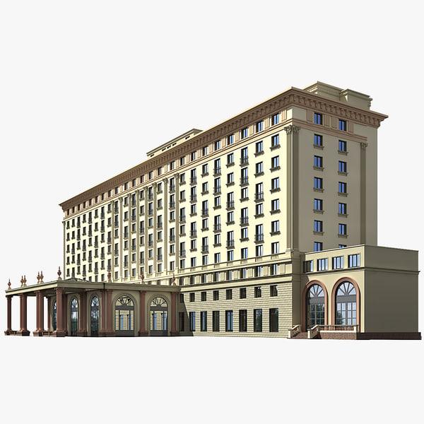 classic hotel building 3d model