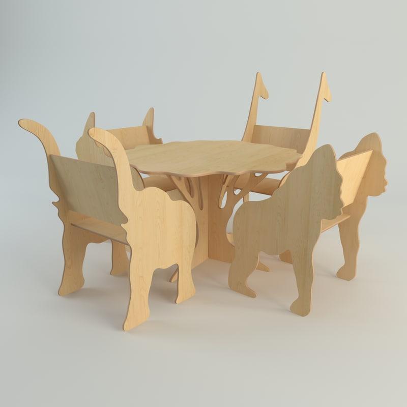 plywood furniture set 3d 3ds