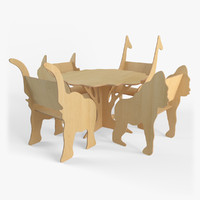 plywood furniture set 3d 3ds