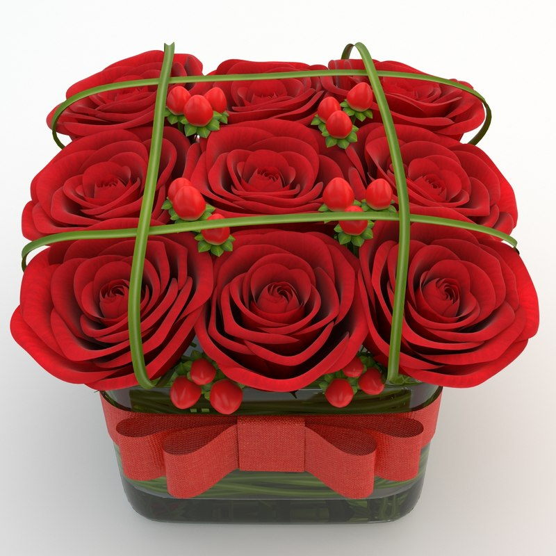 3d model of rose red 02