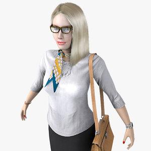 3d realistic blonde business woman model