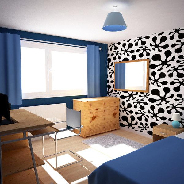 3dsmax small bedroom scene 3