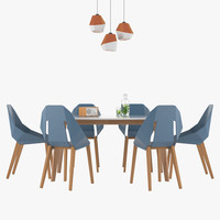 3dsmax dining table chair set
