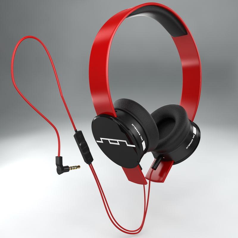 headphones sol republic red 3d model
