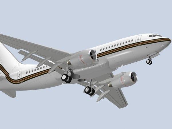 3ds max bbj airplane jet b