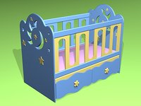 crib bed 3d 3ds