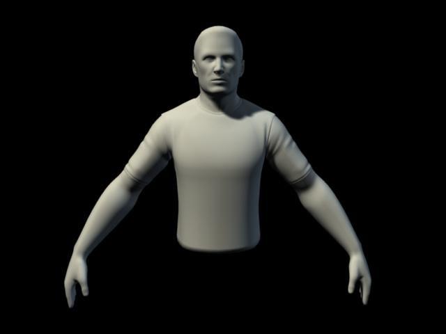 basic male upperbody mesh head 3d model