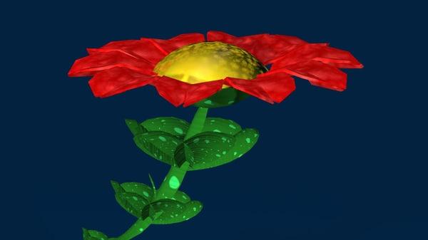 3d model red flower