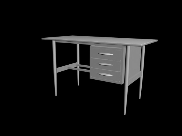 desk wood 3d 3ds